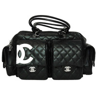 CHANEL Black Quilted Leather Cambon Reporter Tote