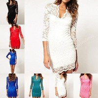Fashion Women's Sexy V-neck Lace Slim Ladies Cocktail Clubbing Mini Party Dress