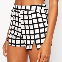 Daisy Street Check Shorts with Notch Detail