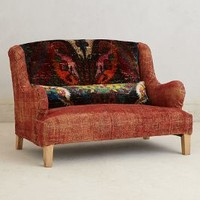Silk Knotted Settee by Anthropologie Crimson One Size Furniture