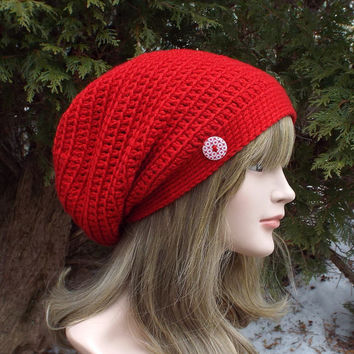 Red Slouch Beanie - Womens Slouchy Crochet Hat - Oversized Slouchy Beanie - Hipster Hat - Baggy Beanie - Slouchy Hat with Button