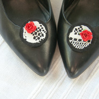 """Black felt shoe clips with vintage lace and red rose detail, """"Snow White"""""""