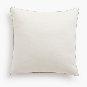 Belgian Linen Pillow Cover Oyster - Oatmeal Piped