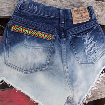 High Waisted Bleached and Distressed Denim Shorts