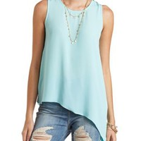 Asymmetrical Tank with Exposed Zipper by Charlotte Russe