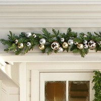 Outdoor Ornament Pine Garland - Gold/Silver | Pottery Barn