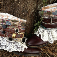 SALE, Cowgirl Shannon boots, Romantic Boho, gypsy cowboy boots size 7, Weekend Sale