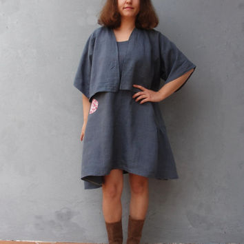 Linen Layering Dress with Bolero Vintage Embroidery Linen Dark Grey size 8 EU size 38