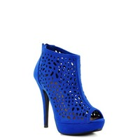 Blue Suede 'Edel' Cut-Out High Heel Bootie