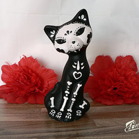 Cat sculpture painted handmade - Calaca Sugar Skull Day of the Dead - GIRL Black Cat - Dia de los muertos - Handmade