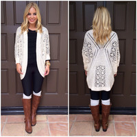 Knit With Love Cardigan Sweater - CREAM