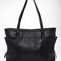 FOREVER 21 Buckled Faux Leather Tote Black One