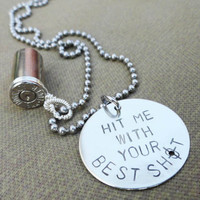 """Silver Bullet Necklace - """"Hit Me with Your Best Shot"""""""