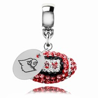 Louisville Cardinals Crystal Football Drop Charm Fits All Pandora Style Bracelets