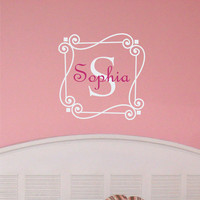 Personalized Monogram Scrolled Name with Initial Wall Art Decal