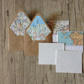 Map envelopes Europe - set of 5 crafted small mini envelopes with cards - travel writing paper - light blue grey rustic - europeanstreetteam