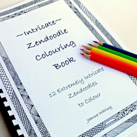 Coloring Book, Intricate Zentangle Inspired Printable, 12 Coloring Patterns, Zendoodles to Color