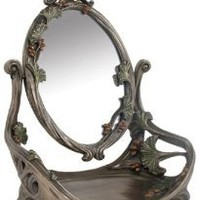 11 Inch Art Nouveau Pewter Look Vanity Mirror adorned with rosebuds