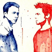 Fight Club Tyler Durden Brad Pitt Edward Norton watercolor wash Art Print by Justin 13 Art