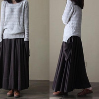 Simple put on a large cotton Long Skirt by MaLieb on Etsy