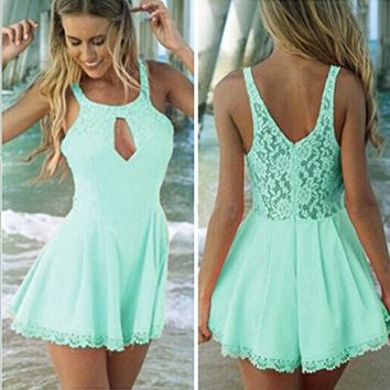 Womens Casual Solid High Waist Shorts Rompers Playsuit Jumpsuit