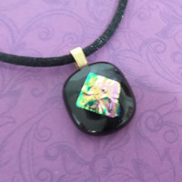 Tiny Black Pendant with Pink and Green Dichroic Accent, Fused Glass Jewelry - Rebecca - 2472-5