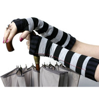 Very soft black and grey striped fingerless gloves mittens
