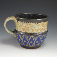 ceramic coffee mug, sgraffito pottery, wheel thrown cup, blue, green, diamond pattern