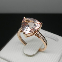 Engagement Ring - 3 Carat Morganite Ring With Diamonds In 14K Rose Gold