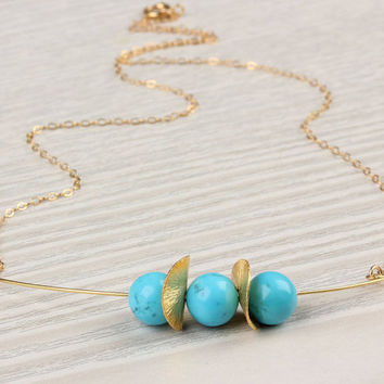 """Turquoise necklace, turquoise and gold, stone pendant, 14k gold necklace,  bridal necklace,  bridesmaid necklace,  wavy disc, """"Thespia"""""""