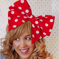 Minnie Mouse Bow BIG Bow Hair Clip Red White Polka dot bow Disney Fan Kawaii bow Sweet Lolita Cute bow polkadot inspired Women bow Teens bow