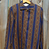 Vintage 70's Collared Button-Down Striped Paisley Shirt Size 4