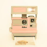 Polaroid camera photo vintage camera pastel pink by bomobob