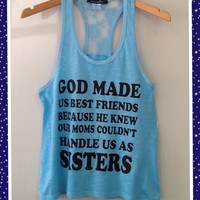 Racer tank w/ laced back- Best Friends