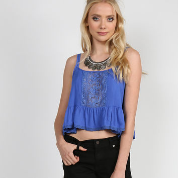 Crochet Detail Cropped Cami - Royal Blue
