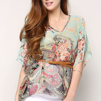 Belted Tropical Print Chiffon Top