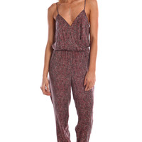 PEBBLED PRINT WRAP FRONT SPAGHETTI JUMPSUIT - RED