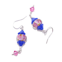 Lime green pink blue drop dangle earring Sterling silver wire hanging earing Swarovski crystal Navy cobalt Czech glass flower bead ear ring