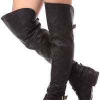 Black Faux Leather Over the Knee Riding Boots