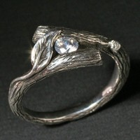 KIJANI Single Leaf Ring in Sterling Silver and Set by BandScapes