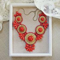 Bohemian Romance Necklace in Coral