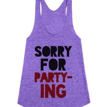 Sorry For Partying Racerback Tank Top Crimson Ide03130107-Tank