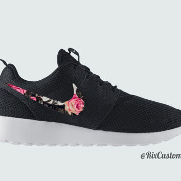 Men's Nike Roshe Run Floral Black White Custom Roses