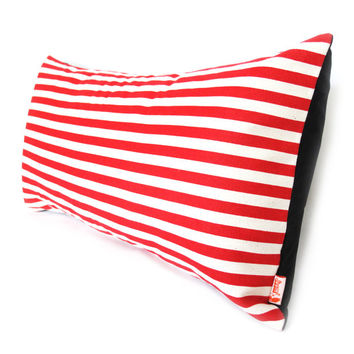 Red & White Stripes Pattern Rectangle Pillow