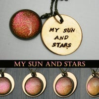 """Game of Thrones Inspired """"My Sun and Stars"""" Color Shifting Antique Bronze Hand Stamped Necklace"""