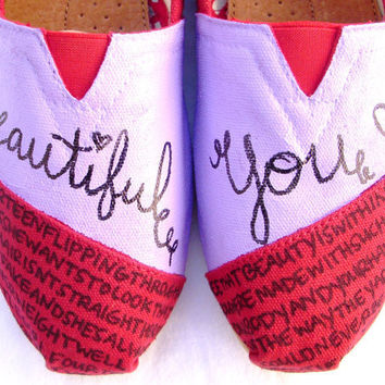 The Bella - Lavender and Red Custom TOMS
