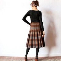 Mod Wool Pleated Skirt, 60s 70s Brown Plaid Stripe Earth Tone neutral Made in Italy preppy campus classic equestrian midi length office kilt