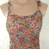 Knitted Transparent Adjustable Strap Multicolor Blouse Top for Spring&Summer by Arzu's Style
