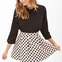 FOREVER 21 Dotted A-Line Skirt Baby Pink/Black