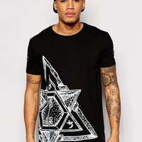 ASOS Longline T-Shirt With Star Print
